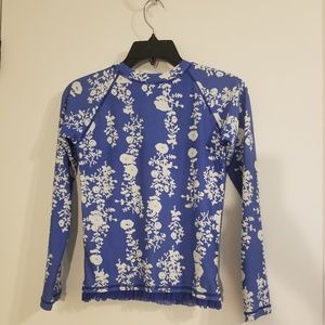Hanna Andersson Ruffle Floral Rash Guard Size 150